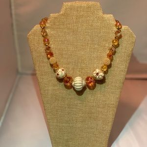 Peach and Beige Crystal Chunk Necklace